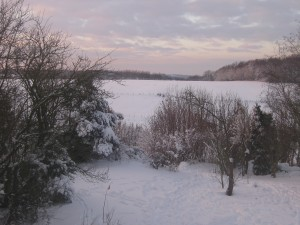 uitzicht vanuit slaapkamerraam achter - december